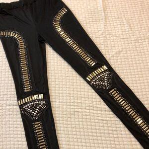 Studded knee leggings